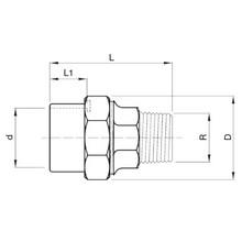 Manchon union PVC-Laiton - Femelle à coller sur d - Fileté sur R 12223