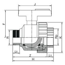 Vanne simple union filetée x taraudée - Joints EPDM 1361