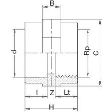 Manchon d'adaptation - Femelle à coller sur d - Taraudé sur Rp 5012