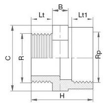 Réduction - Filetée sur R - Taraudée sur Rp. 5021
