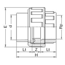 Manchon union 3 pièces - Femelle à coller sur d - Taraudé sur Rp 5082