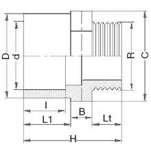 Mamelon d'adaptation - Mâle à coller sur D - Femelle réduit à coller sur d - Fileté sur R. 5212
