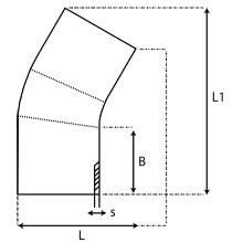 Coude à 30° à embouts mâles PE100 SDR7.4 9539S